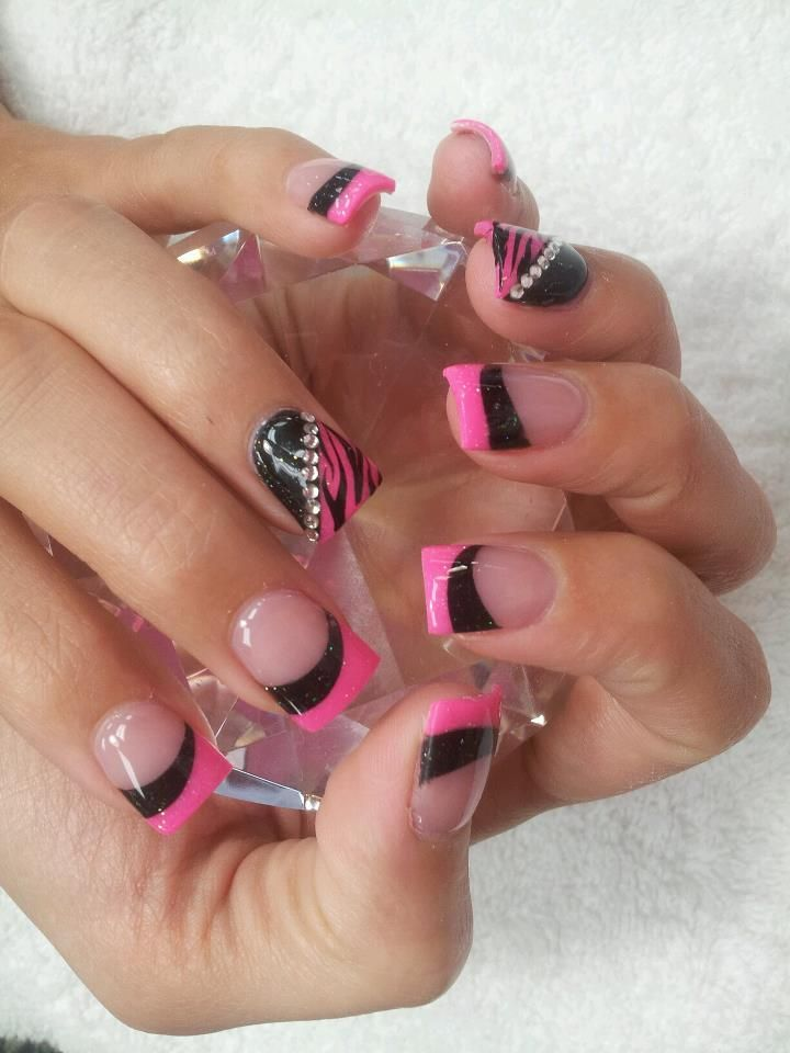 Pink, Black, Zebra Nails