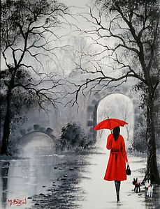 MAL-BURTON-ORIGINAL-ART-OIL-PAINTING-OUT-WITH-THE-DOGS-RED-UMBRELLA