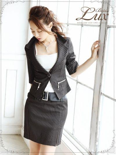 画像5: 【BelsiaLux】ストライプ柄五分袖キャバスーツ フォーマルスーツ/ビジネススーツにも【ベルシアリュクス】(S/M/L/XL)(ブラック/ホワイト),式スーツ 女性 フォーマル
