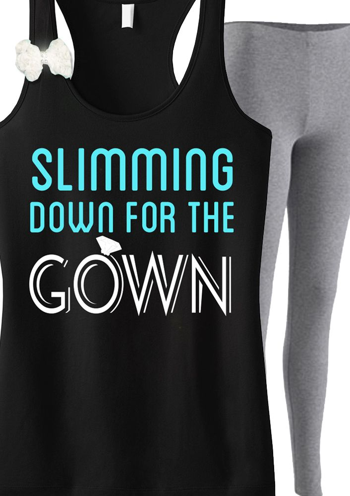"Motivation for the big day! ""Slimming Down for the Gown"" #Bride #Workout tank top with white Lace Bow. Only $24.99, click here to buy http://nobullwoman-apparel.com/collections/wedding-bridal-shirts/products/slimming-down-for-the-gown-tank-top-with-bow"
