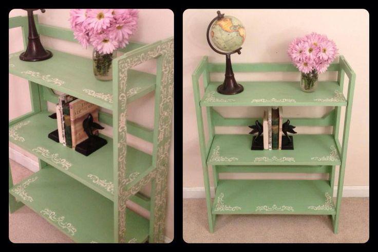 Annie sloan chalk paint bookshelf in mint green custom for Mint green furniture paint