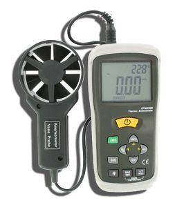 http://www.termometer.se/Handinstrument/Luftkvalitet-Miljo/CIM0619-Anemometer-luftflode.html  53-AN200 Anemometer med IR-termometer  Enkelt inställbar flödesarea. Sparas i EPROM-minnet och bibehålles tills du ändrar värdena.   Beräknar medelvärde baserat på 20 viktade mätvärden.   Max- och Minvärden samt frysning. Automatisk avstängning för att spara batterier...