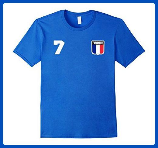 Mens FRANCE T-shirt French Tee Retro Soccer Football Futbol Large Royal Blue - Sports shirts (*Amazon Partner-Link)