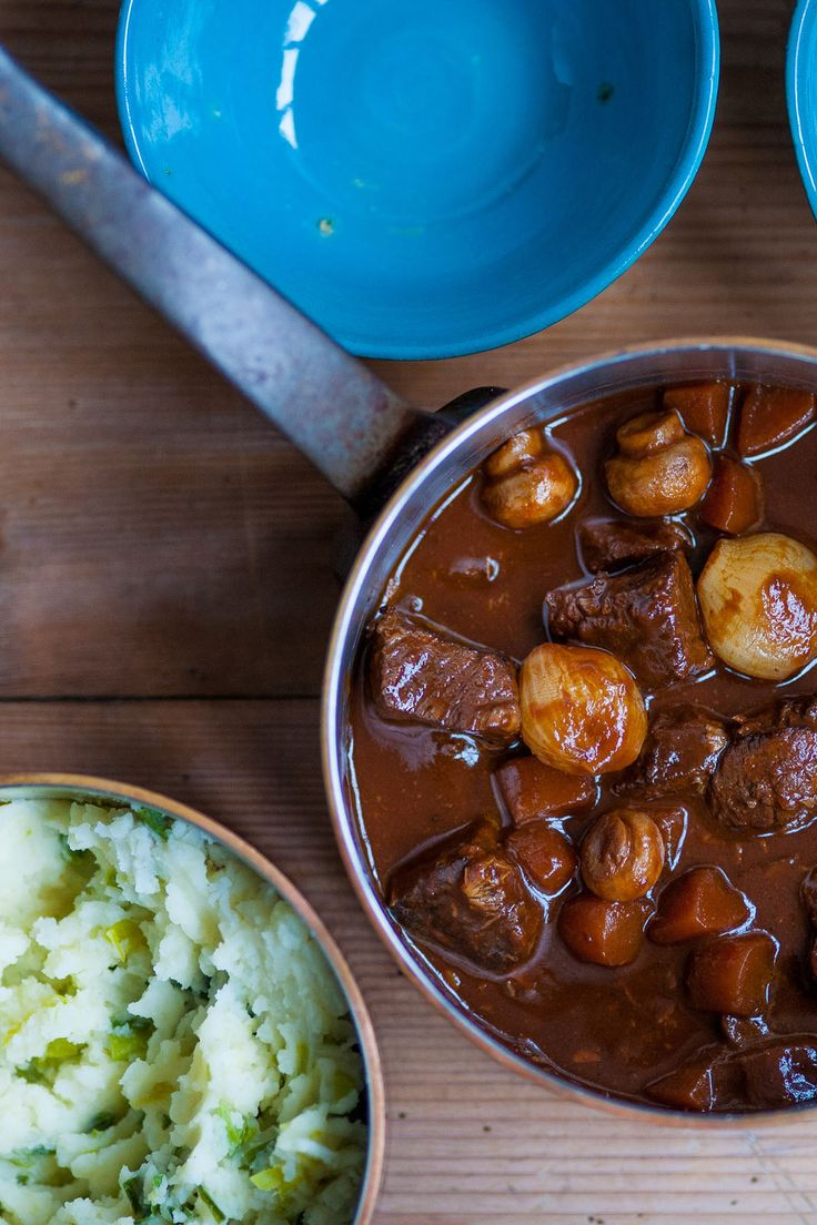 Stews are convenient and a perennial family favourite in many households. Shaun Hill's beef stew recipe requires braising the meat for 2 to 3 hours before stewing with carrots and mushrooms in a rich red wine and tomato sauce. He serves the hot beef stew over a creamy mashed potato with leeks.