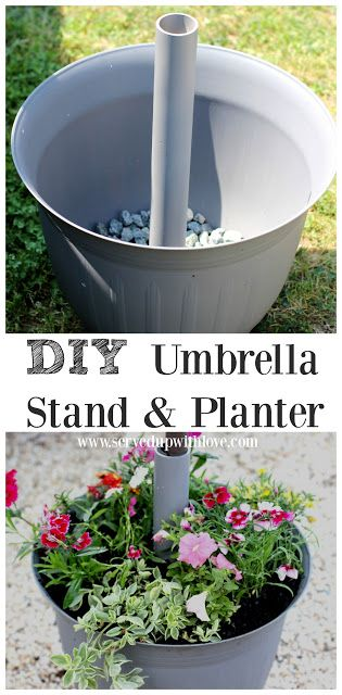 DIY Umbrella Stand & Planter from Served Up With Love. On my quest to find the perfect umbrella stand I decided to make my own and I LOVE it! www.servedupwithlove.com
