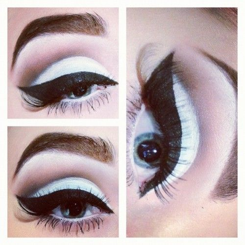 White with black cat liner.