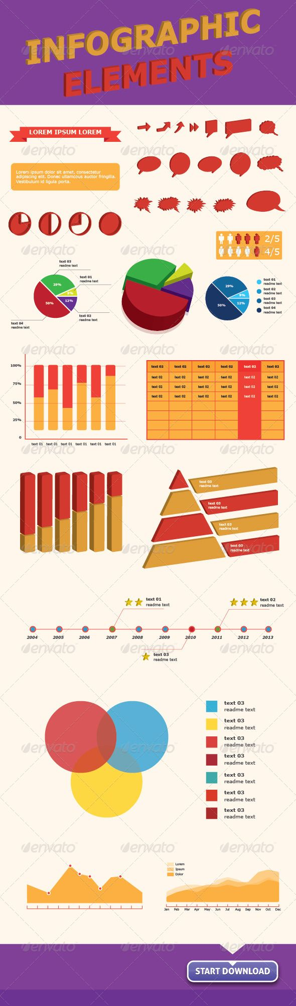 Infographics Vector Elements for Web & Print  #GraphicRiver         Infographic Vector Elements with the most used elements for your web or print info…