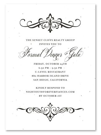 Financial Holiday Party Invitations |  Elegant Scrolls by Green Business Print