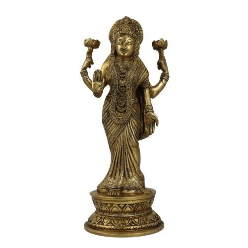 Amazon.com: Figurine Lakshmi Idol Goddess Statue And Sculpture; Brass; 4 X 4 X 11 Inches: Home & Kitchen