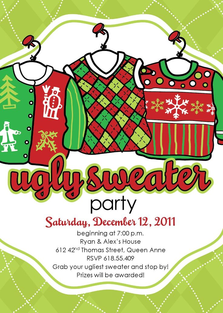 120 best ugly sweater party images on Pinterest Christmas ideas - free xmas invitations