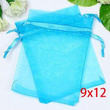 100 aqua blauw bronzing betekenbare organza bruiloft giftzakken& zakjes 12x9cm