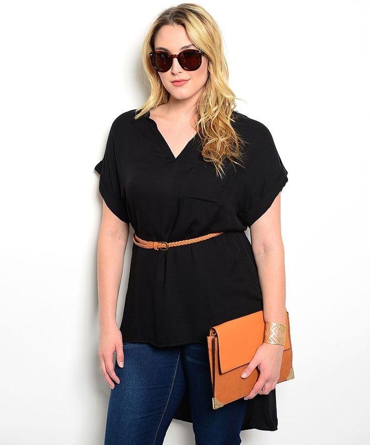 Womens Top PLUS SIZE 3XL JANETTE PLUS Black V-Neck Kimono Sleeve Belt Hi-Lo Hem #JanettePlus #Tunic #Career