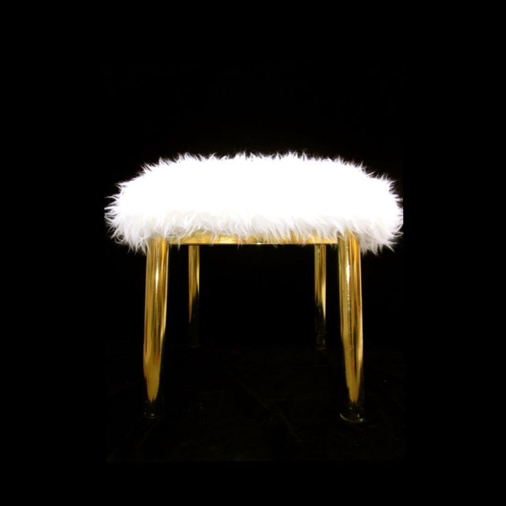 Karl Springer Brass Ottoman / Footstool || Mongolian Faux Fur Cushion || Two Available || Luxe Home Furnishings by ElectricMarigold on Etsy