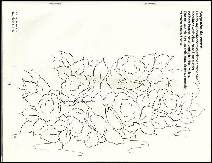 Amor-Perfeito-Amor: tulipas, rosas e narcisos - riscos