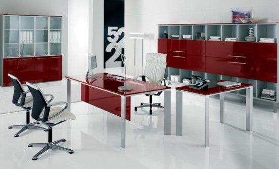 Modern office furniture in red and white