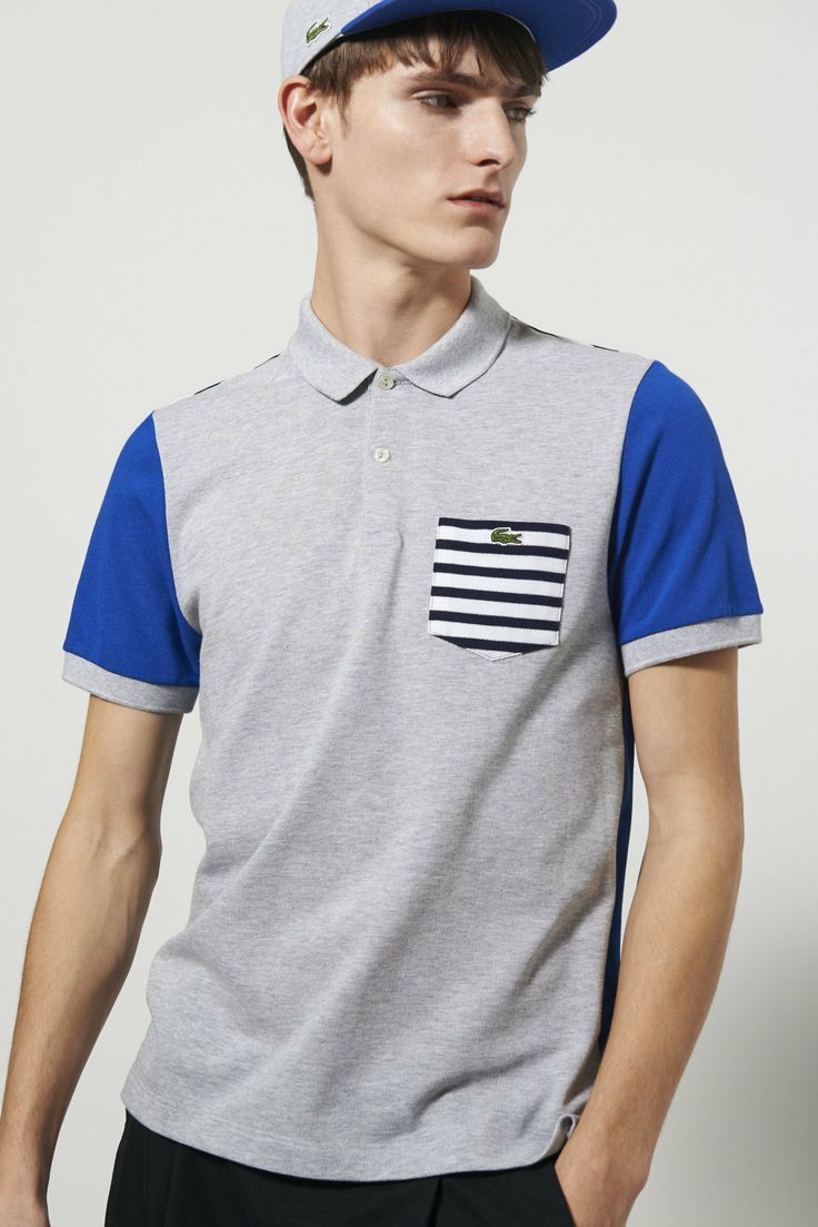 Lacoste Live Short Sleeve Pique Colorblocked With Stripe Polo Shirt : L!VE