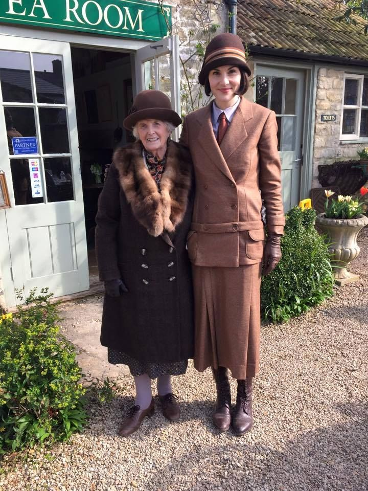Michelle Dockery with Margaret Vaughan of Lacock's popular King John's Lodge Tea Room.