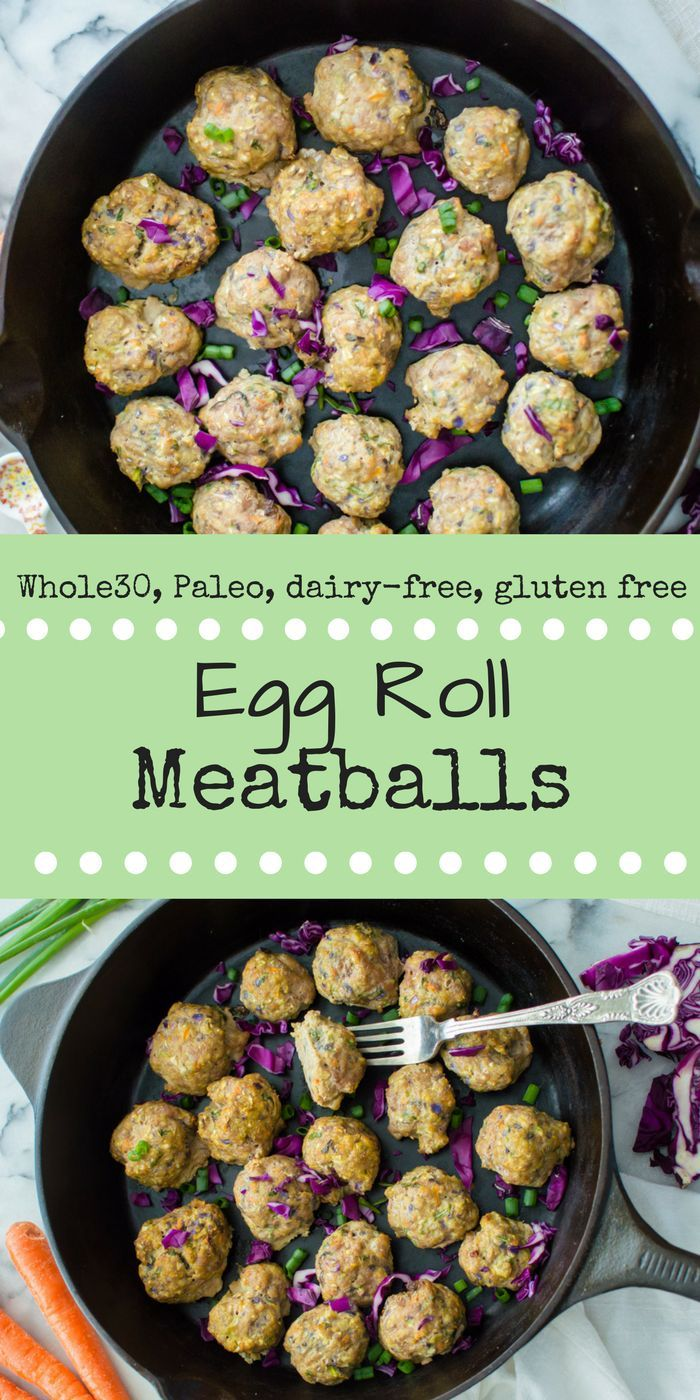 All the great flavor and healthier than actual deep fried egg rolls, Egg Roll Meatballs are totally the perfect easy weeknight dinner. Veggie-loaded with carrots, cabbage and green onion and that awesome sauce you have come to expect out of an egg roll, these little bits of deliciousness are also grain-free, paleo, dairy-free, and Whole30 compliant!
