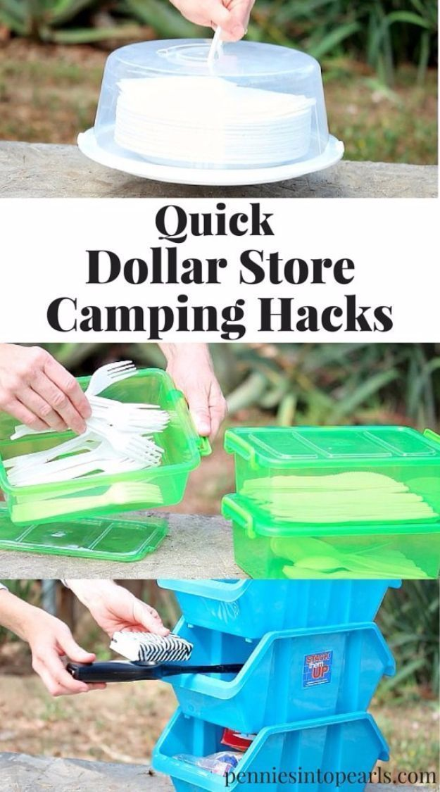 DIY Camping Hacks - Dollar Store Camping Hacks - Easy Tips and Tricks, Recipes for Camping - Gear Ideas, Cheap Camping Supplies, Tutorials for Making Quick Camping Food, Fire Starters, Gear Holders and More http://diyjoy.com/diy-camping-hacks #campinghacksfood #campingcheap #campingtricks
