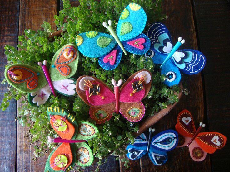 mariposas de fieltro bordadas | Flickr - Photo Sharing!