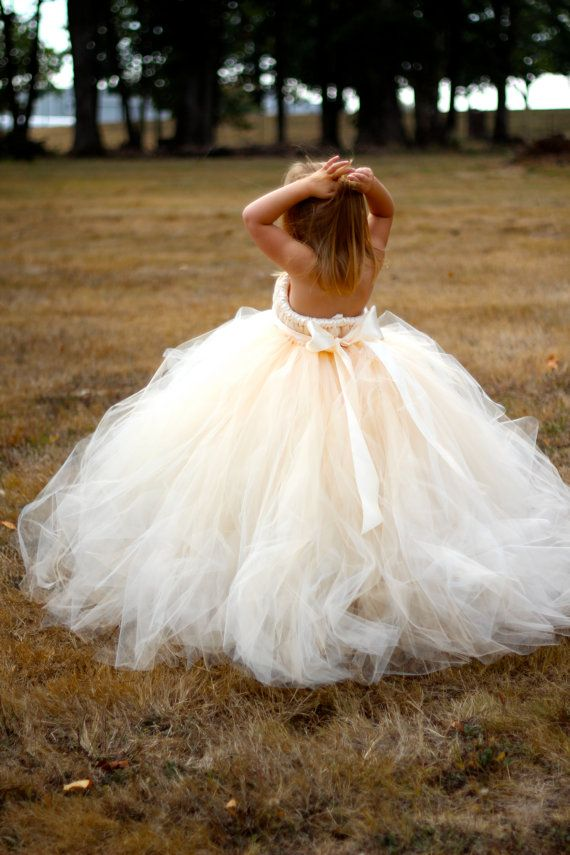 Champagne Flower girl dress - detachable train with bow. No way would I do strapless for little ones, but the abundance of tulle is gorgeous. Will sew.