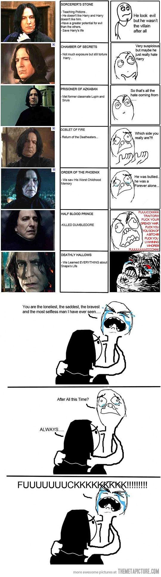 NO. SICK OF THIS. I LOVED SNAPE EVEN WHEN EVERYONE THOUGHT HE WAS EVIL. SNAPE IS AWESOME. ALAN RICKMAN IS AWESOME. PEOPLE WHO JUST NOW STARTED LOVING SNAPE- SHUTUP. THANK YOU. Have a wonderful day