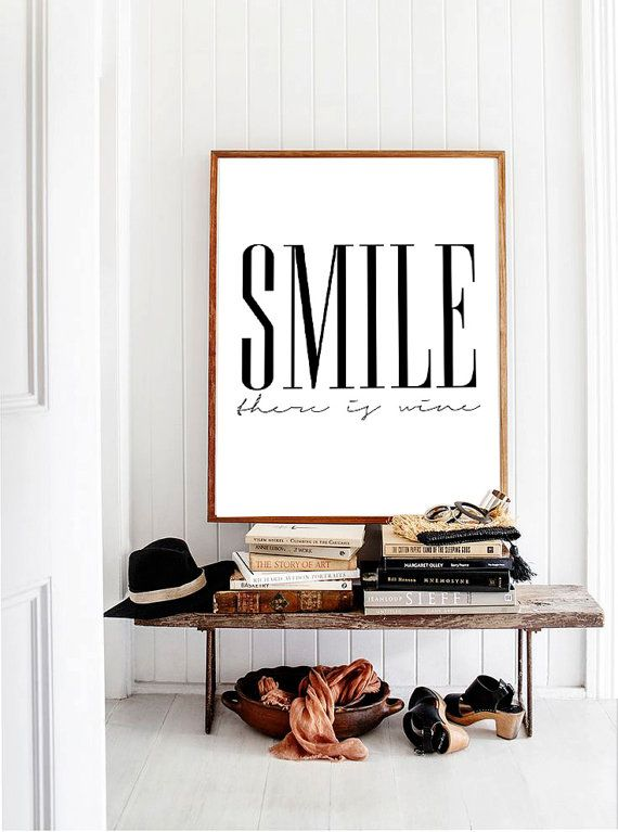 Scandinavian design poster smile there is wine black and white print danish modern design wall art printable 70x100 50x70 24x36 a4