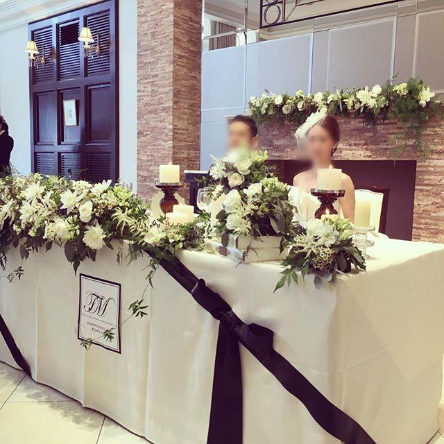 結婚式レポ #ウェディング#メインテーブル#natural#ジョーマローン 風#jomalone#アーカンジェル迎賓館宇都宮 #グリーン#ナチュラル#高砂#maintable#ブライダル #モノトーン#