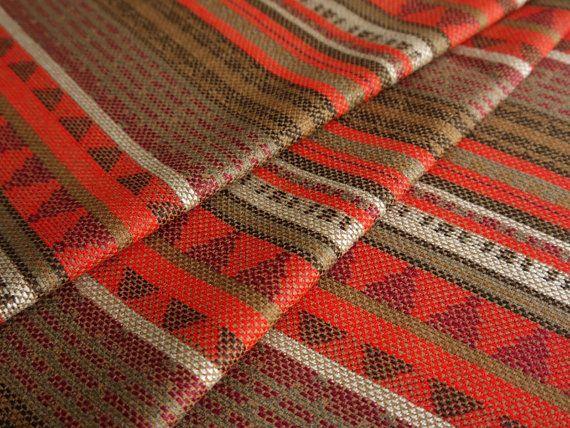 Aztec Fabric / Peruvian Fabric Woven Orange Brown Geometric Stripes, fabric by the yard