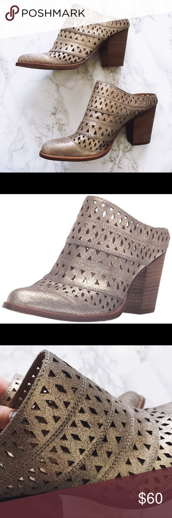 """Glitter Laser Cut Heeled Mules ✨ Gorgeous sparkly mules from Steve Madden with laser cut leather and a stacked heel. Super trendy and unbelievably comfortable! Fits a true size 9. Worn maybe 2 times and no signs of wear on the outside. Color is called """"dusty gold"""" and is super unique and matches everything. Hard to capture in lighting but the stock photo is pretty accurate! Make me an offer! Steve Madden Shoes Mules & Clogs"""