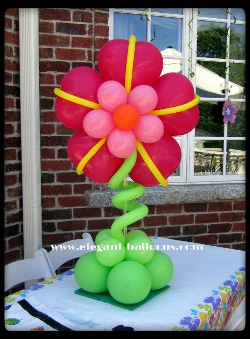 Hibiscus flower - balloon flower Flor de globos mesa decor fiesta celebracion