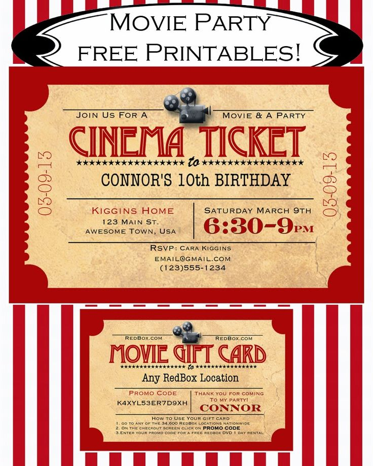 Like Mom And Apple Pie: A Summer Of Movies! Free Printables!  Free movie party invitation and redbox gift card printable