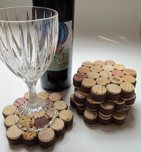 Beautiful set of wine cork coasters! Upcycled wine corks have been sliced in half, arranged and glued securely in the shape of a hexagon, wrapped in a brown cotton ribbon for beauty and added strength, and finished with a flat cork bottom . This fantastic set will look great on your coffee or dining room table. Consider them as a thoughtful and unique gift for just about anyone, including a friend, coworker, teacher, neighbor or even the happy couple. Giving a set of these terrific coasters…