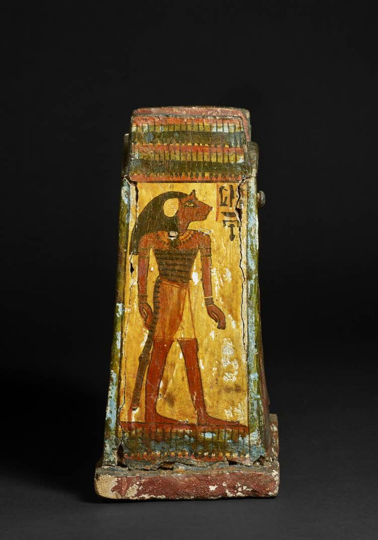 Wood and plaster rectangular wooden shabti-box: taking the shape of two shrines with vaulted lids. Detail. 20th dynasty (?); 19th dynasty (?), c. 1250-1150 B.C. | The British Museum