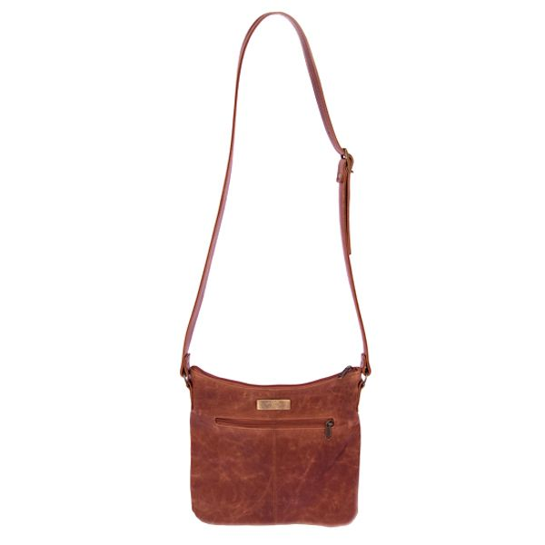 Stone waterproof lining 	Zipped inner pocket 	Zipped outer pocket 	Adjustable shoulder strap 	Handcrafted in South Africa 	Finest hand selected distressed bovine leather 	Available in brown 	H 24cm x W 28cm