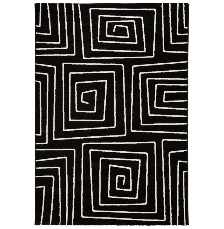 Gulvteppe Med Mønster - LINIO er utradisjonellt teppe i polypropylen med kunstneriske spiraler og labyrintspill for barn. Lange, myke og tykke tekstilfibre