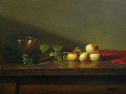 Leah Lopez :: Paintings :: Amber Glass with Lady Apples