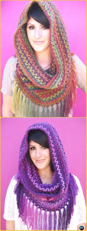 Crochet Mountains Cowl Free Pattern - Crochet Infinity Scarf Free Patterns