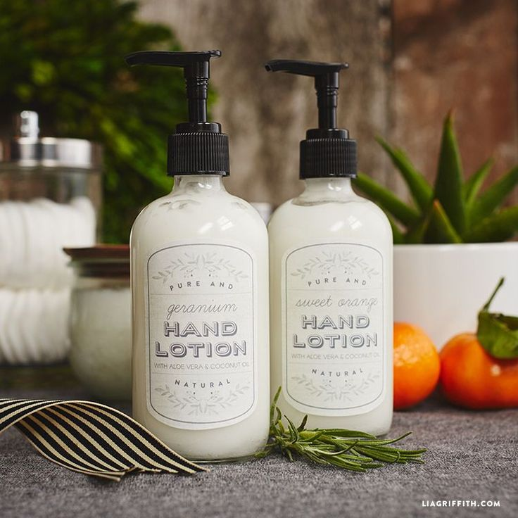 Handcrafted lifestyle expert Lia Griffith shares her recipe for homemade lotion with aloe and coconut oil including printable labels for your lotion bottles