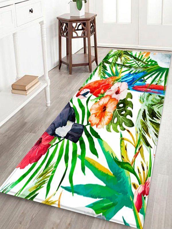 Uhommi Parrot Rainforest Plants Printed Skidproof Area Rug Multicolor W16 Inch L47 Inch Rainforest Plants Rugs On Carpet Tropical Bathroom Decor