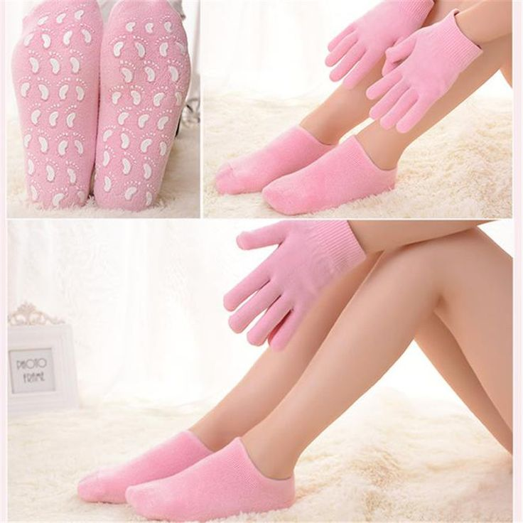 Reusable SPA Gel Socks & gloves Moisturizing whitening exfoliating velvet smooth beauty hand foot care silicone socks 4PCS