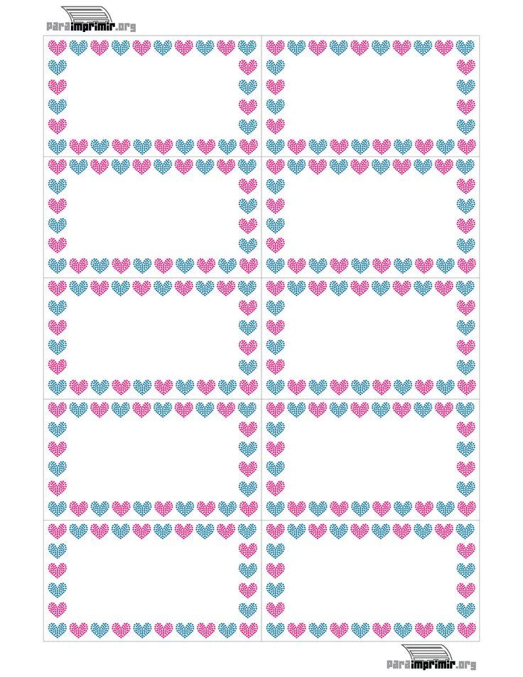 Tarjetas de presentación con fondo de corazones para imprimir