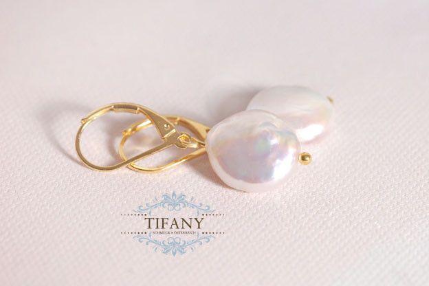 Perlenohrringe - Coin Ohrhänger - echte Süßwasser Perlen  - ein Designerstück von Tifany-Schmuck bei DaWanda
