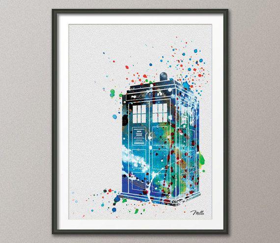 TARDIS de Dr Who aquarelle peinture impression 8 x 10 par CocoMilla
