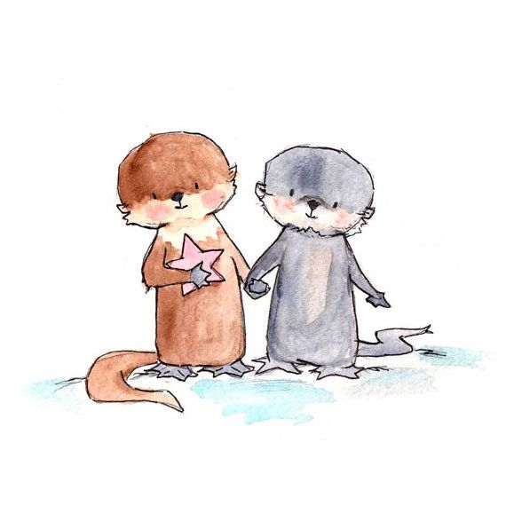 Otter Pup Pals 8x10 Nursery Art Print, New Baby, Girl, Boy