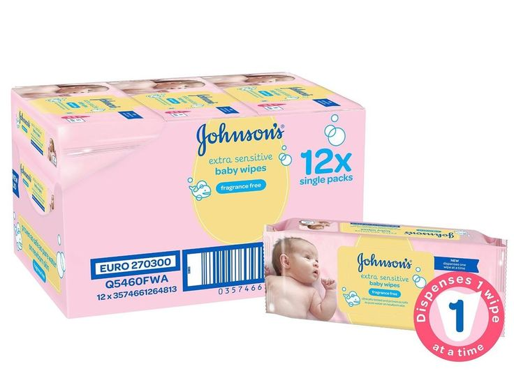 Johnson's Baby Extra Sensitive Fragrance Free Wipes Pack of 12 Total 672 Wipes…