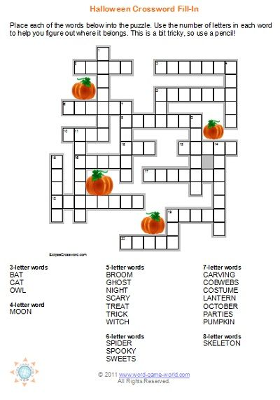 Try this unique Halloween crossword puzzle. It's a fill-in puzzle that your kids are sure to love. Perfect entertainment for a Halloween party!