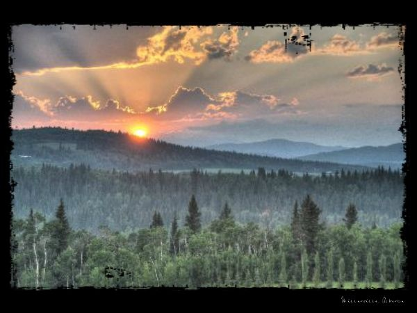"Here's a canvas I had printed at www.mypublishedstorybooks.com of my photo called ""Sunset in Millarville"""
