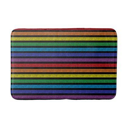 Outlined Stripes Rainbow Black Bath Mat - pattern sample design template diy cyo customize