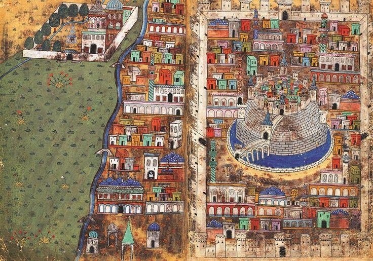 Matrakçı Nasuh'a ait Halep minyatürü, 16. yy.  #MatrakçıNasuh #Halep #minyatür #miniature #ottomanart #art #artist #artwork #fineart #güzelsanatlar #OttomanArtist